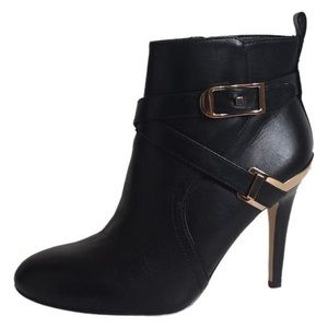 Marc Fisher Leather Ankle Heel Booties Black